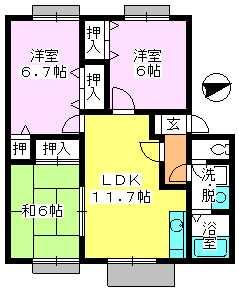 ティアラ 安川 / 203号室間取り