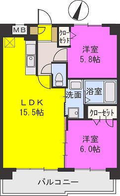 エアポートハイム東平尾 / 301号室間取り