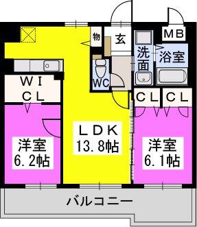 カーサ宮ノ前Ⅱ / 401号室間取り