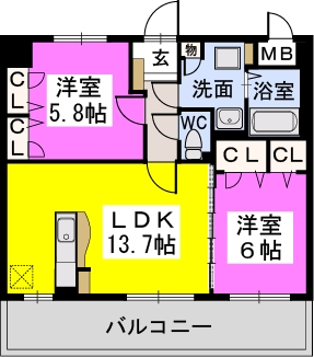 カーサ宮ノ前Ⅱ / 402号室間取り