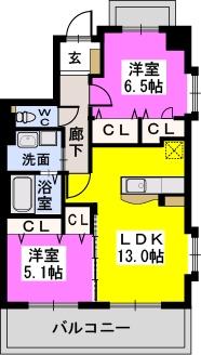コンフォート東比恵 / 401号室間取り