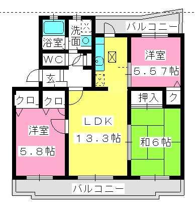 アムールTOMOIKE / 103号室間取り