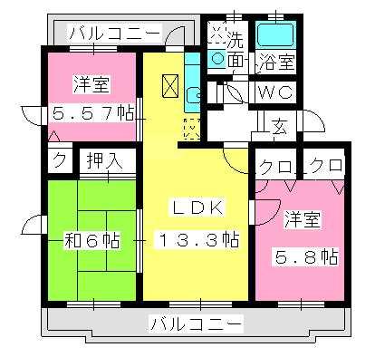 アムールTOMOIKE / 107号室間取り