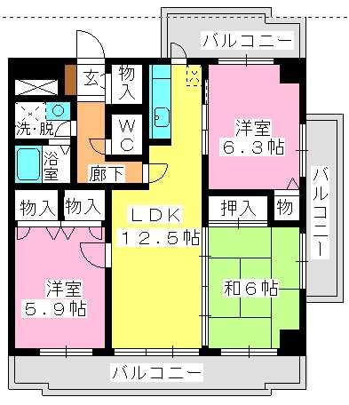 サンスーシー桜台 / 605号室間取り