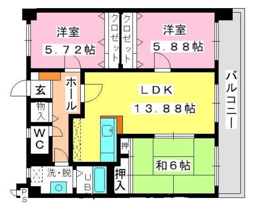 オークス / 203号室間取り