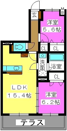 ハピネス21 / 102号室間取り