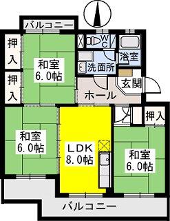 ビレッジ都府楼Ⅱ / 402号室間取り