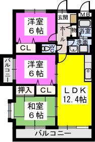 シャトレ弐番館 / 401号室間取り