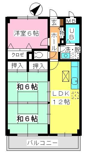 シャトレ天拝 / 102号室間取り