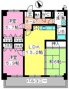 カサグランデ筑紫 / 403号室間取り