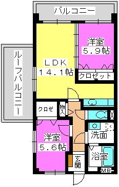 クレールM / 602号室間取り