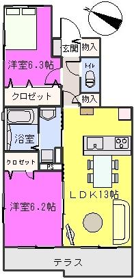 グランドール / A-102号室間取り
