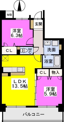 ブランコート筑紫野 / 702号室間取り
