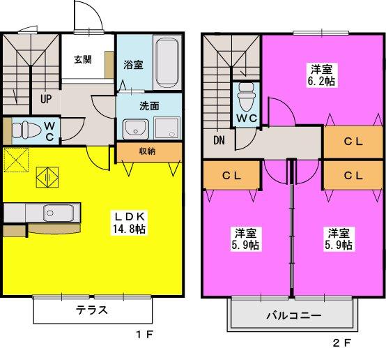 ロータス / C-2号室間取り