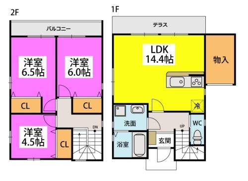 仮)タウンハウス石崎 / 107号室間取り