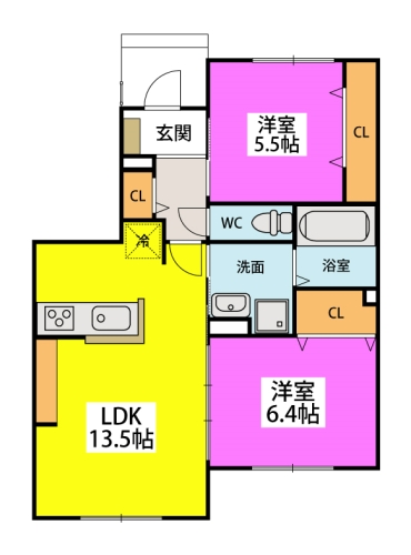 仮)タウンハウス二日市駅前 / B-101号室間取り