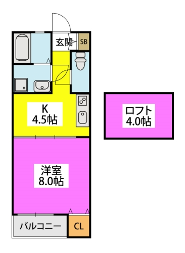 ※トレビアン本城 / 202号室間取り
