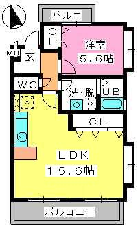 グランマキ室見Ⅲ / 101号室間取り