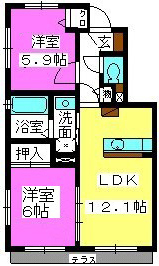 オイルファーム姪浜Ⅲ / 101号室間取り