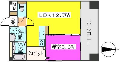 MM-5 / 205号室間取り