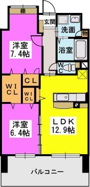 プロスペレー駅南 / 1402号室間取り