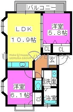 プロシード倉石 / 201号室間取り