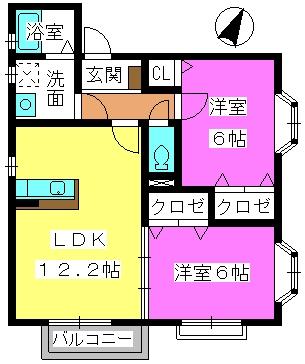 ボヌール春日原Ⅱ / 201号室間取り