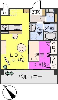 アバンダントsanchiku / 205号室間取り