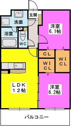 エスペラージュ香椎駅前 / 202号室間取り