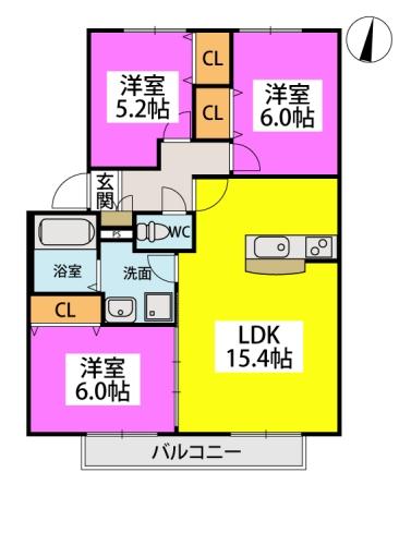 メロディハイツ河東 / 203号室間取り