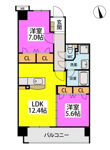 仮)下原4丁目マンション / 702号室間取り