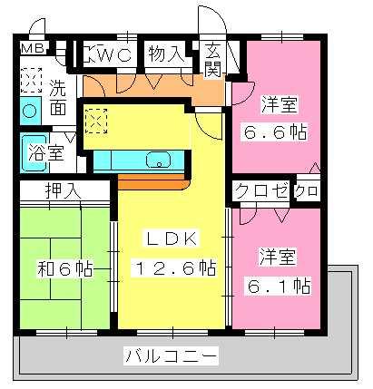ピア白水ヶ丘 / 201号室間取り