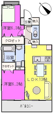 ステラ・U 鶴田 / 201号室間取り