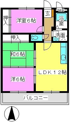 サンライズ那珂川 / 402号室間取り