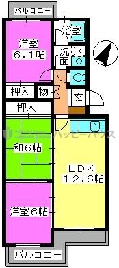 K.K.H(カワサキ春日ハイツ) / 203号室間取り