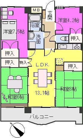 シャトレ博多南 / 305号室間取り