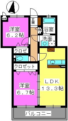 ラフィーネ / 202-la号室間取り