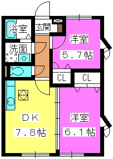 シャルマンメゾン樋井川 / A-101号室間取り