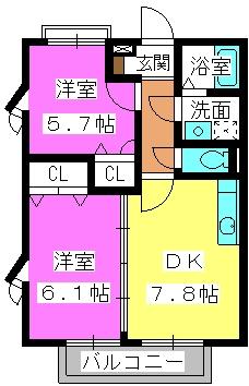 シャルマンメゾン樋井川 / A-202号室間取り