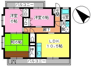 ヴェルドミール神松寺 / 203号室間取り