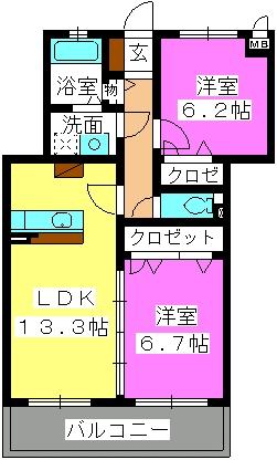 ステラパークサイド次郎丸 / 2202号室間取り