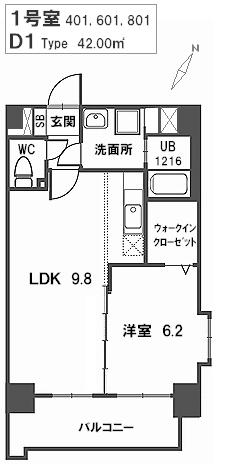 トラント・ドゥ博多 / 601号室間取り