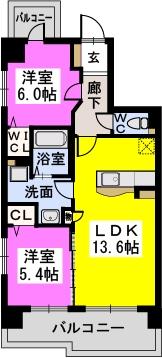 シャトレ六番館 / 601号室間取り