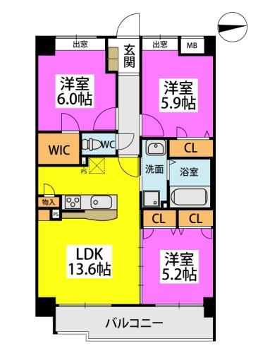 仮称)小笹5丁目マンション / 201号室間取り