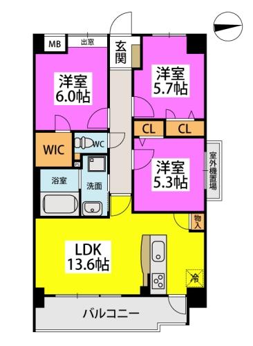 仮称)小笹5丁目マンション / 603号室間取り
